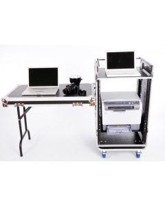 16u DJ Workstation Flight Case Rack with Side Tables and 10u Mixer Slant