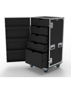 5 Drawer Universal Production Flight Case with Hinged Lid