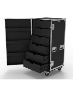 6 Drawer Universal Production Flight Case with Hinged Lid