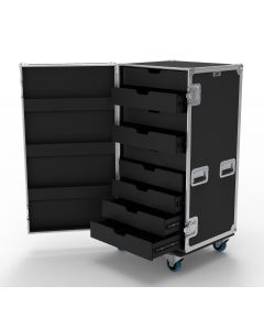9 Drawer Universal Production Flight Case with Hinged Lid