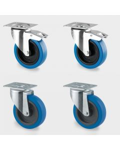 Set of 100mm Industrial Castors - 4 inch