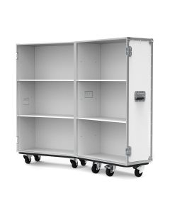 Retail Display Flight Case with Clothes Rails in White