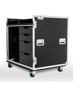Large Production Flight Case - 4 Drawer with Keyboard Shelves And 16U Rack