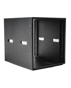 12U Rack Sleeve - 600mm Deep in Black with Handle Cut Outs
